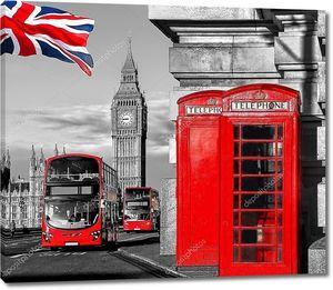 Три символа Лондона - Биг Бен, автобус и будки
