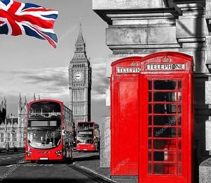 Символы в Лондон с Биг Бен, двойной автобус и красные телефонные будки в Англии, Великобритания