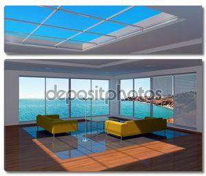 интерьер гостиной с видом на море