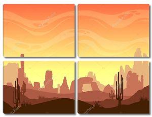Бесшовные мультфильм пустынный ландшафт