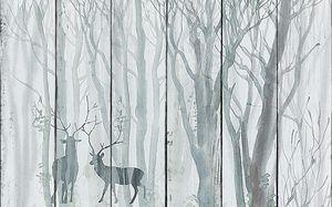 Деревья акварелью с оленями