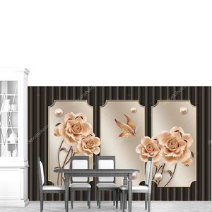Розы с колибри в фигурных рамках