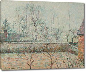 Камиль Писсарро. Пейзаж с домами и фехтовальной стеной, морозом и туманом, Эрагни