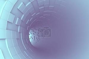 Абстрактные 3d-рендеринга футуристический туннель голубой