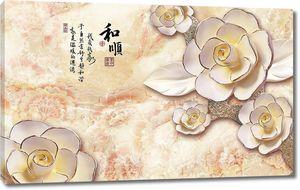 Фарфоровые цветы с японскими иероглифами