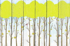 Звездочки и птички на деревьях