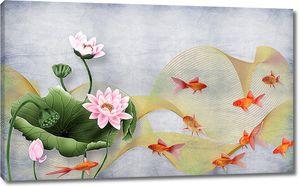 Золотые рыбки с лотосами