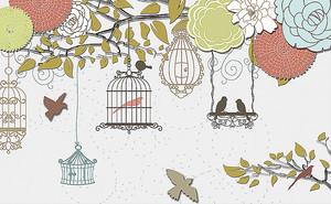 Цветы с птичьими клетками