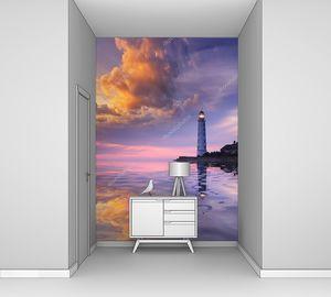 Красивый пейзаж с маяком на закате