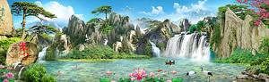 Озеро с водопадами со скал