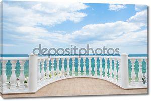 Balcony view on the sea shore