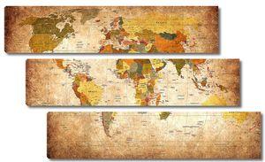 Карта континентов винтажная