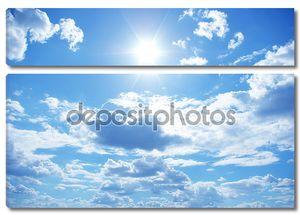 Солнце в синем небе облачно