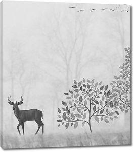 Олень под деревом в тумане