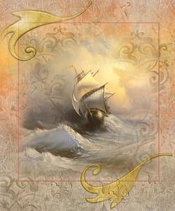 Фреска с парусным кораблем на волнах