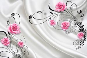 Цветы на фоне белой ткани