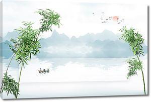Озеро в обрамлении бамбука