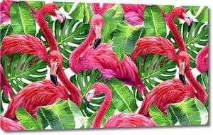 Розовые фламинго и трава