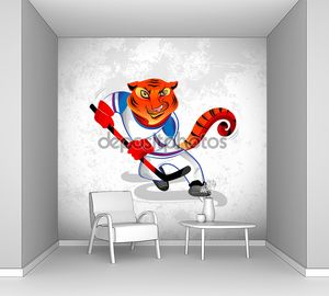 Тигр, играл в хоккей