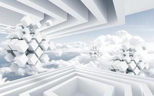Белые парящие сборные кубы