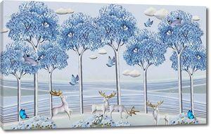 Голубые высокие деревья, белые олени с золотыми рогами