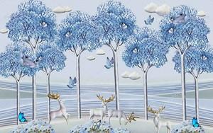 Голубые высокие деревья, белые олени