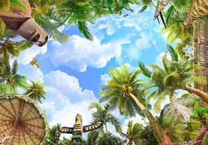 Вид снизу в тропическом лесу на пальмы