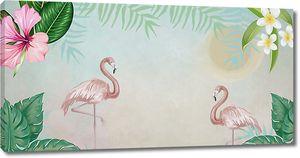 Фламинго и цветы в углах