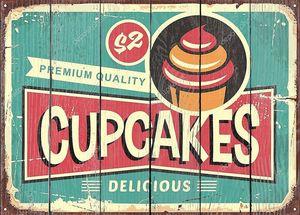 Вкусные кексы ретро знак конфеты магазин. Выпечка магазин Винтаж объявлений с милой типографии и кекс графики. Векторные иллюстрации для сладости и конфеты.