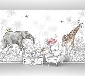 Слон и жираф в джунглях