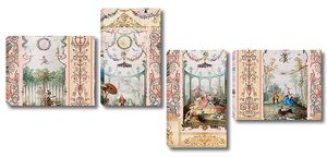 Фреска с старинными живописными сюжетами