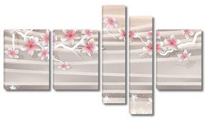 Орнамент из веток сакуры и полос