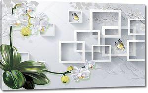 Белые цветки с белыми рамками
