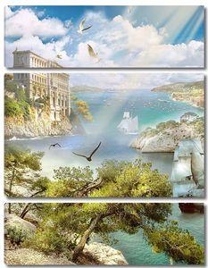 Вид с горы на море и архитектуру