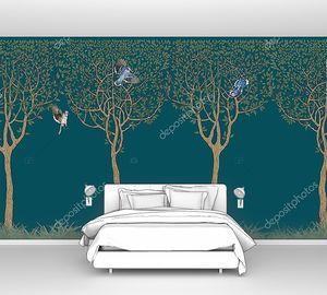 Деревья с птицами на темном фоне