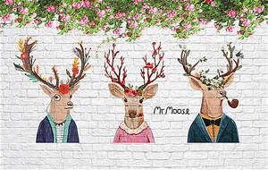 Головы оленей на кирпичной стене