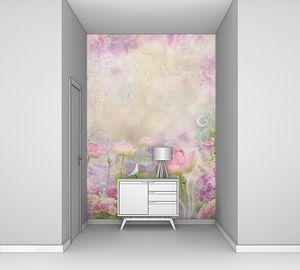 Цветочный коллаж из лотосов на текстуре старой стены