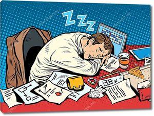 Мужчина бизнесмен спит на работе