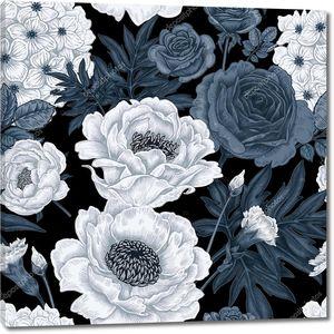 Бесшовный узор с цветами розы, пионы, гортензии, карнат
