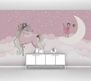 Единорог с девочкой на луне