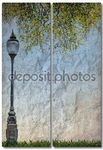 Лампа дороги уличный свет полюс и зеленый оставить на старой бумаге гранж