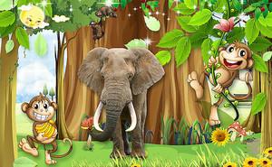 Слон с обезьянками