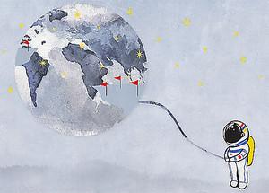 Космонавт и земля. Детский рисунок