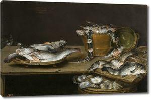 Адриансен Александр. Натюрморт с рыбой, устрицами и котом