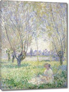 Моне Клод. Женщина, сидящая под Ивами, 1880