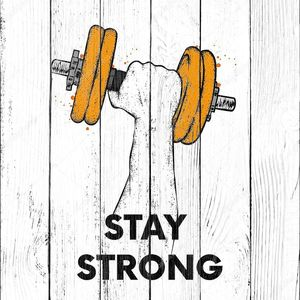 Руки с гантелями. Спорт, силу и здоровье. Векторная иллюстрация открытка или плакат, печати для одежды.