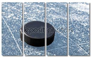 хоккейная шайба на льду