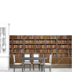 Панорама старых книг на деревянной полке в книжном магазине или библиотеке.