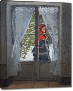 Моне Клод. Красный платок, портрет мадам Моне, 1873