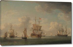 Чарльз Брукинг. Английские корабли под парусами  в  легкий бриз